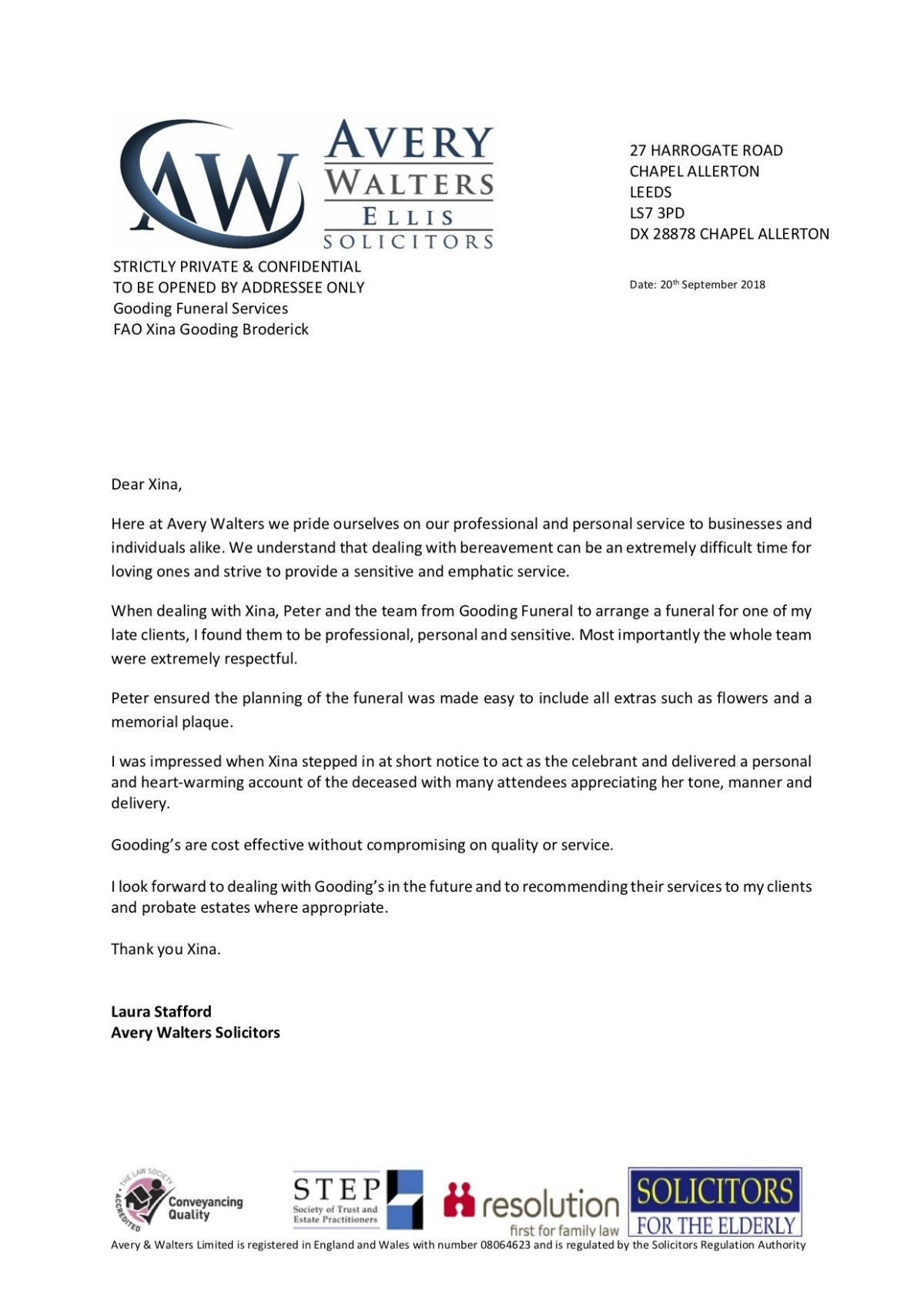 Image of Testimonial from Avery Walters Solicitors