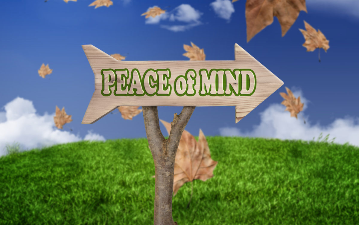 "A wooden arrow in a green meadow on a sunny day with the words ""Peace of mind"" written on it"