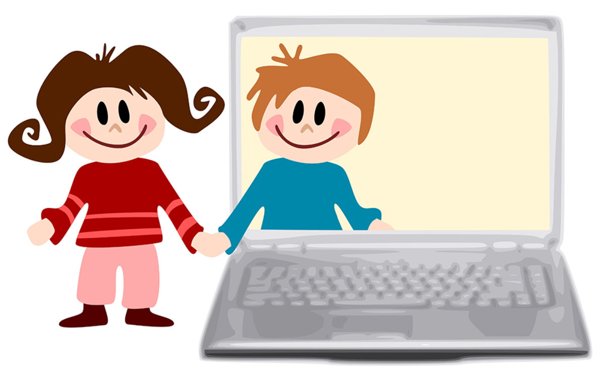 Illustration of a little girl smiling and dressed in red and pink, standing outside a laptop and holding the hand of a smiling little boy dressed in blue, who is standing inside the laptop screen.