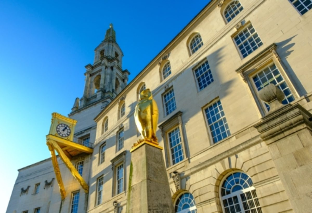 Golden Owl and Clock outside Leeds Civic Hall