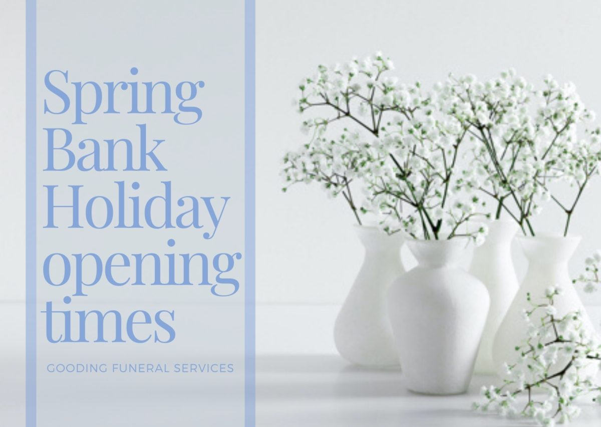 "White vases, containing white flowers against a white background and the words ""Spring Bank Holiday opening times"""