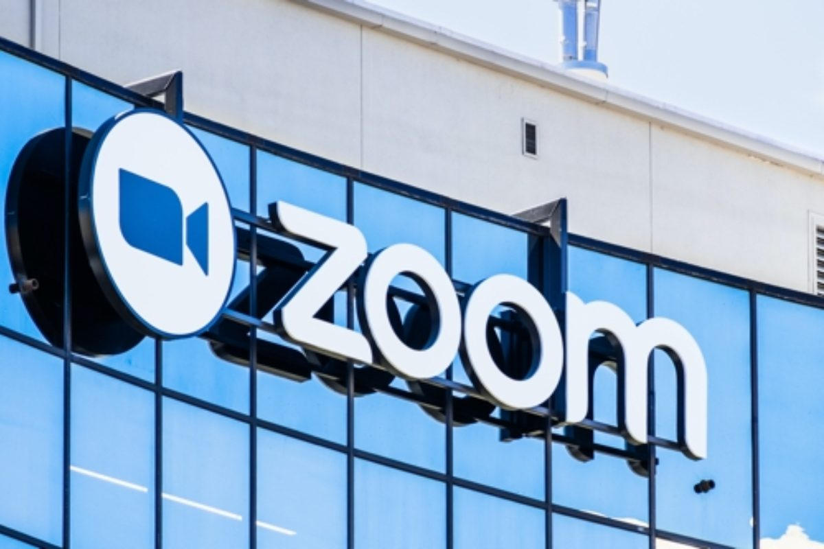 Zoom company logo and signage.  Zoom online video conferencing